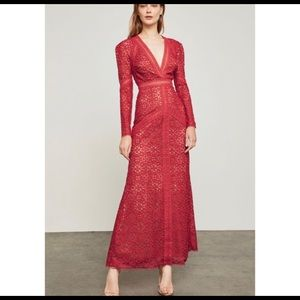 BCBG Max Azria mosaic lace gown red NWT